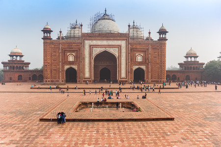 Facade of the mosque at the Taj Mahal complex in Agra, India