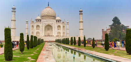 Panorama of the historic Taj Mahal monument in Agra, India