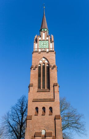 Tower of the historic Stadtkirche church in Jever, Germany