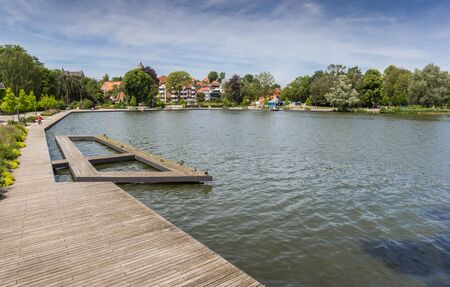 Wooden jetty at the lake in Eutin, Germany
