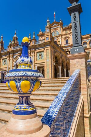 Blue and yellow decoration on the bridge of the Plaza Espana in Sevilla, Spain