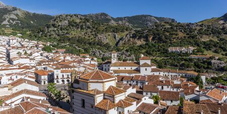Panorama of the white village Grazalema in the national park in Spain