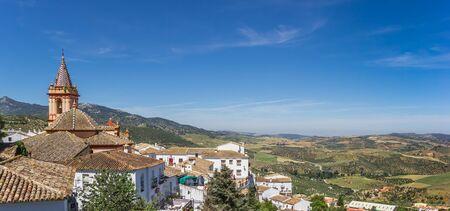 Panorama of the church and surrounding landscape of Zahara de la Sierra, Spain