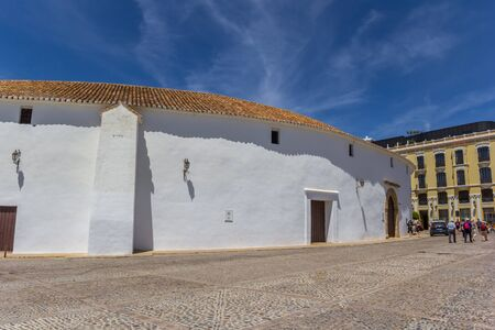 White wall of the bullring in Ronda, Spain