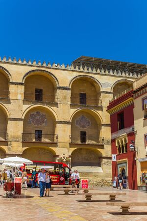 Colorful historic buildings in the center of Cordoba, Spain