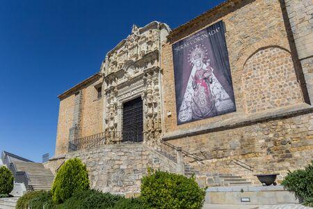 Decorated facade of the Santa Maria church in Alcaudete, Spain