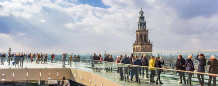Panorama of the viewing platform and church tower in Groningen, Netherlands Redactioneel