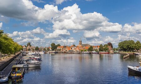 View over the harbor of historic village Blokzijl, Netherlands