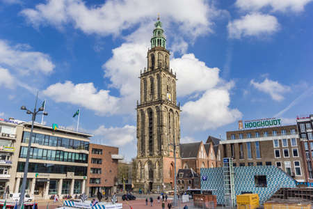 Central market square and Martini tower in Gronignen, Netherlands