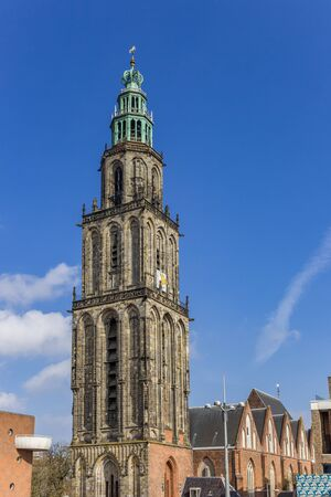 Tower of the historic Martini church in the center of Groningen, Netherlands