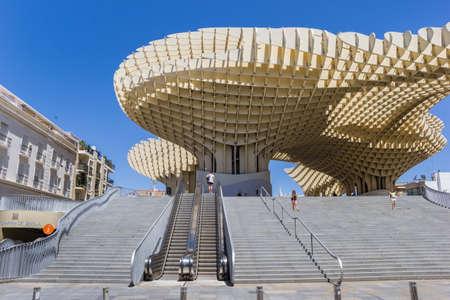 Escalator and steps leading to the Metropol Parasol in Sevilla, Spain Sajtókép
