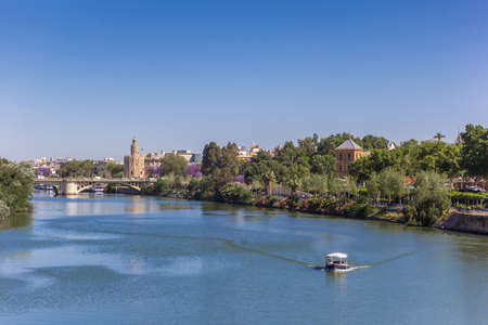 River Guadalquivir and view over Sevilla, Spain