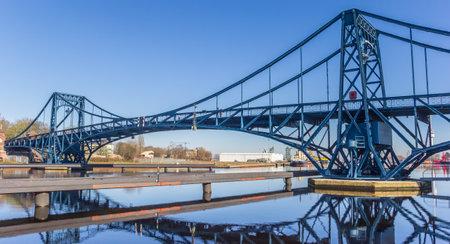 Panorama of the Kaiser Wilhelm bridge over the Ems-Jade-Kanal in Wilhelmshaven, Germany