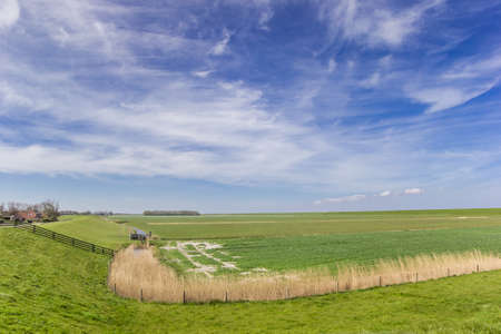Dike in the landscape of Oostergo in Friesland, Netherlands Stock Photo
