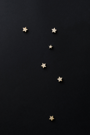 Constellation Cassiopeia. Build a starry sky on a black background. table text space. Vintage. chalk board.