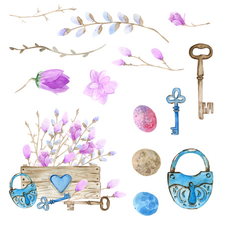 Easter. Watercolor set. Wooden box filled with flowers, Easter eggs. Compositions and isolated elements for decorating Easter cards. Pink magnolia in the box, the decor of the old lock and keys. Imagens