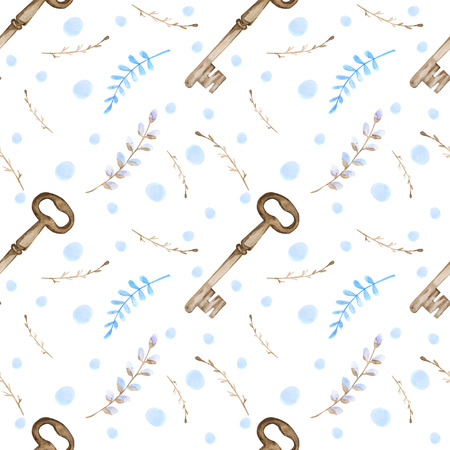 Seamless pattern with sprigs, keys, white background in blue dots. Watercolor drawing.