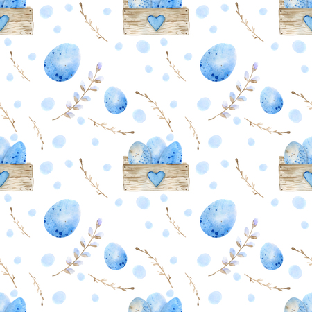 Seamless pattern. Easter eggs, blue watercolor eggs, background white speckled. Watercolor drawing by hand.