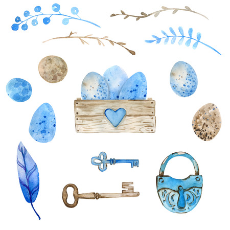 Easter. Watercolor set. Wooden box filled with flowers, Easter eggs. Compositions and isolated elements for decorating Easter cards. Easter eggs in a wooden box. Feathers, keys, lock. Imagens