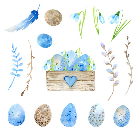 Easter. Watercolor set. Wooden box filled with flowers, Easter eggs. Compositions and isolated elements for decorating Easter cards. Snowdrops and primroses in a wooden box. Watercolor drawing Imagens