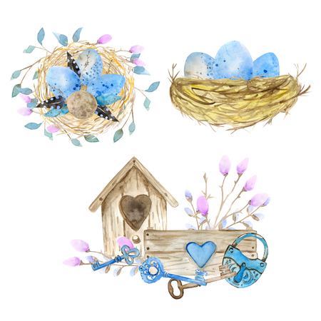 Set of decorative hand drawn Easter doodle elements for design. kit with watercolor texture. Banque d'images