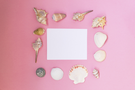 Empty white sheet of paper for text on a pink background. Background with shells and pebbles. Maritime theme. 免版税图像