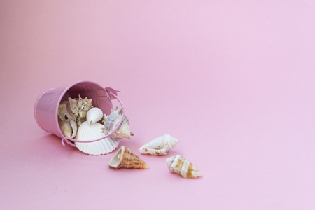 Sea shells of various sizes are scattered from a pink bucket on a pink background, empty space to the right. Maritime themes 写真素材