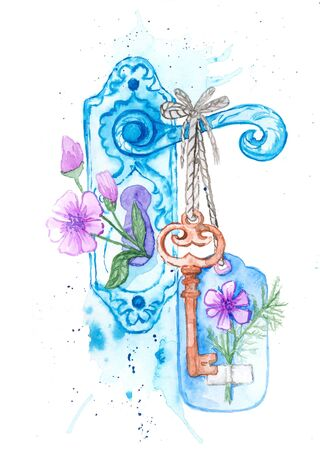 Freehand watercolor drawing. The brown key weighs on the doorknob. A flower peeps out of the keyhole. There are stains and blots in the picture. Watercolor postcard.