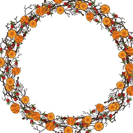 Web Vector Christmas wreath of twigs, orange tangerines, rosehip berries. Christmas, New Year concept. For the design of postcards and frames, walls, fabrics.