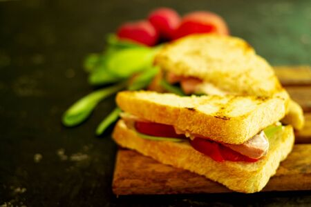 Homemade hot sandwich with tomatoes and ham. Tasty breakfast of fried bread, red tomato, green salad, and sausage. Food lies on a wooden board, and on a black background. Blurred background