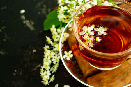 A cup of flower tea with spring cherry blossom on a black background. Copy space.