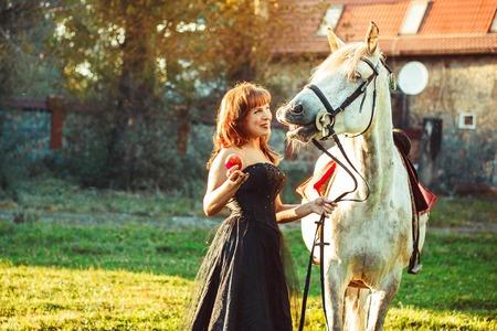 portrait attractive woman full length next horse