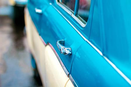 The blue door of an old Soviet car Stock Photo