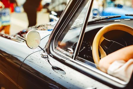 The black door of an old Soviet car