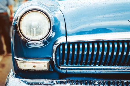 shiny car: Headlight lamp vintage classic car - vintage effect style pictures Stock Photo