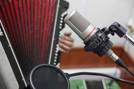 Closeup of the musicians play the accordion in the Studio