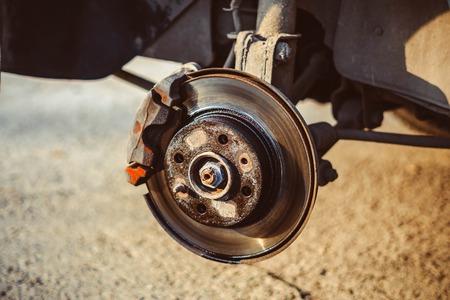 Closeup disc brake of the vehicle for repair.