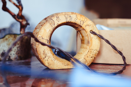 USB wire in wooden product for home decor