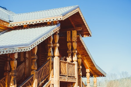 beautiful wooden Church on a winter day