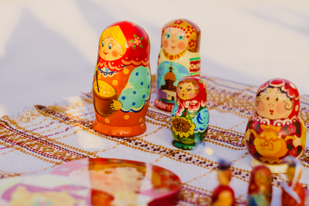 Russia, Novokuzneck, 9.12.2017: Wooden Nesting Dolls or Russian Matryoshka Dolls for sale in