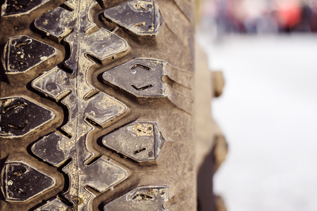 old Winter tyres in extreme cold temperature Stockfoto - 91724838