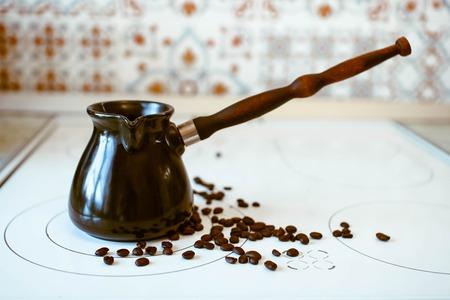 Hot Turkish coffee boiling on the stove Reklamní fotografie