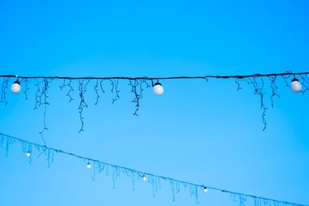 electric lamp in a decorative garland. Evening festive lighting.