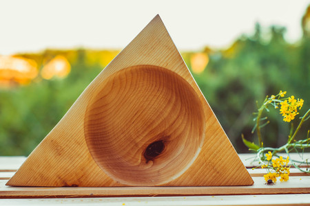 Empty wooden dish on the table in the open air Stock Photo