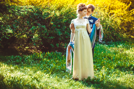 These romantic happy moments of wedding couple. 스톡 콘텐츠