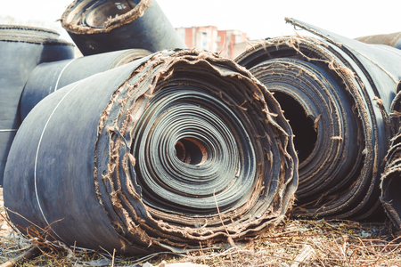 industrial rubber roll texture lying on dump