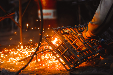 cutting of metal lattice with acetylene torch