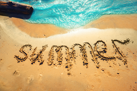 lettering summer on the sand of the sea shore Stock Photo - 103163039