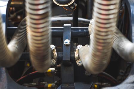 Close-up shot of car engine hoses and tubes Stock Photo