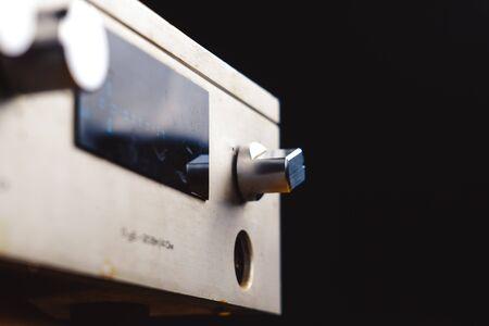 old Soviet audio amplifier, volume controls closeup